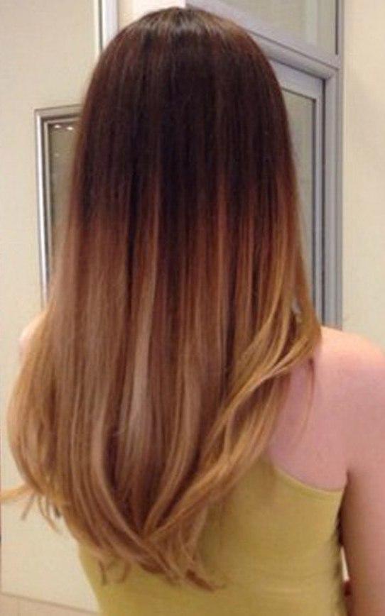 омбре на длинные прямые темные волосы фото