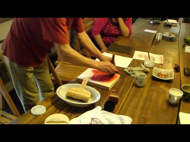 Japanese Woodblock Printing Class Hanga はんが 版画 cont'd