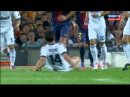 Xabi Alonso clatters Sergio Busquets - Barcelona midfielder accentuates foul with rolls