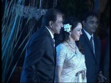 Dharmendra and Hema Malini at Esha Deol's wedding reception.