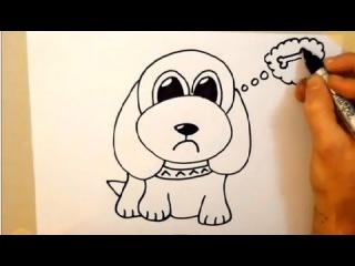 Как нарисовать щенка за 2 минуты