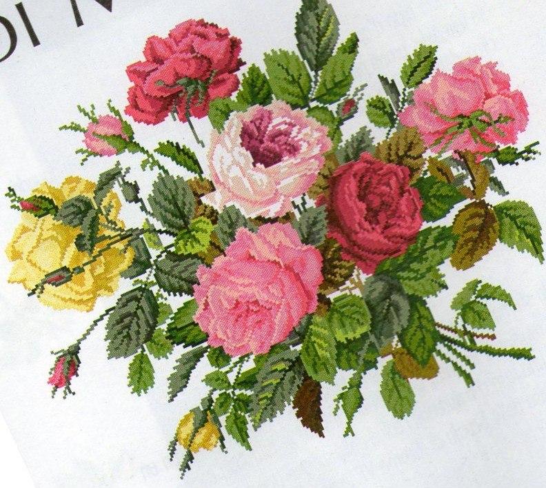 Вышивка крестиком - букет роз.