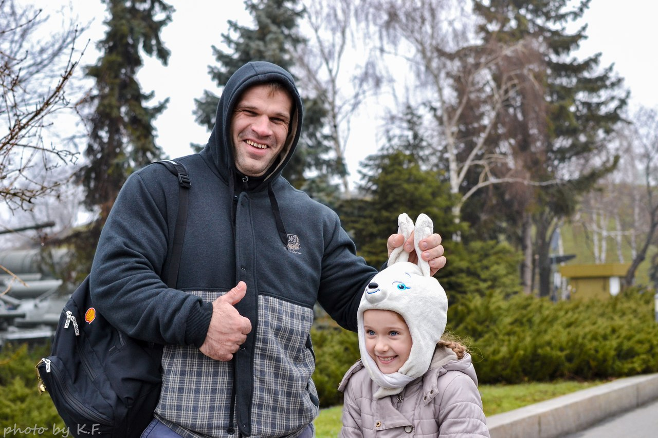 Denis Cyplenkov and a funny little girl with rabbit ears hat - 2014 Kiev, Ukraine │ Photo Source: Denis Tsyplenkov - vk