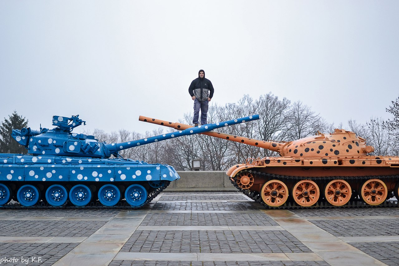Denis Cyplenkov on top of tank barrels / tank guns - 2014 Kiev, Ukraine │ Photo Source: Denis Tsyplenkov - vk