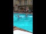 Jedward jumping into a pool
