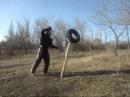 Палочный бой - упражнения с покрышкой