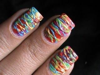 Spun sugar nails Colorful technique -- how to do spun sugar nail art designs pattern tutorial video