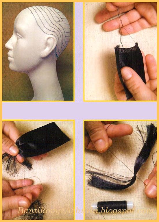 Как правильно сделать волосы для куклы из ленты