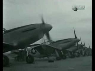 Нарезка кинокадров воздушных боев Второй Мировой войны.