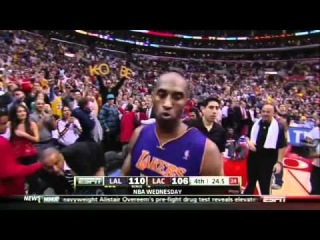 "Kobe Bryant hits another clutch shot then ""takes flight"" Clippers-Lakers 4-4-12"