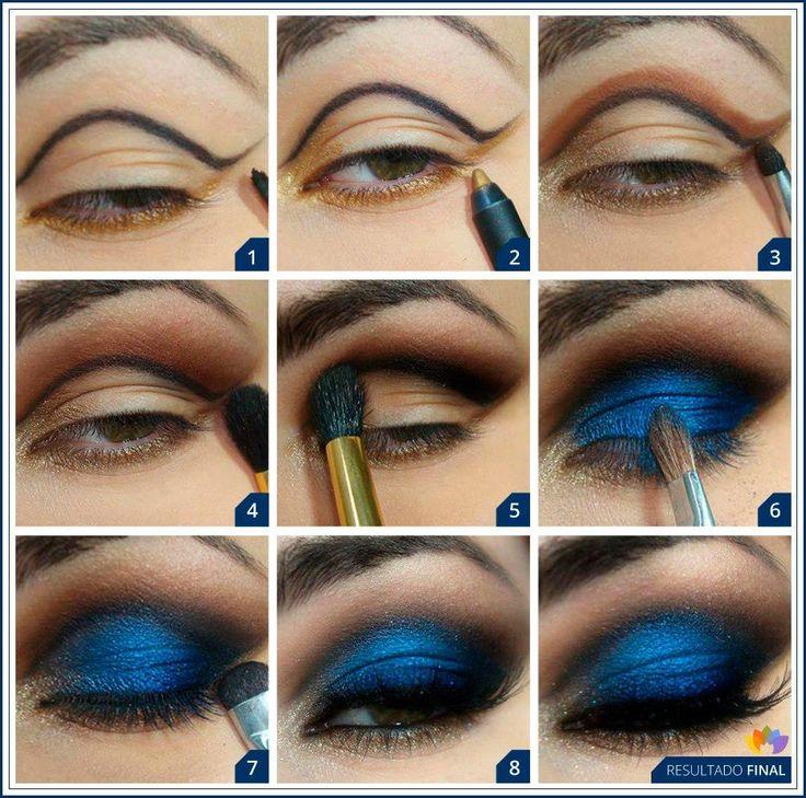 Макияж для больших голубых глаз пошагово