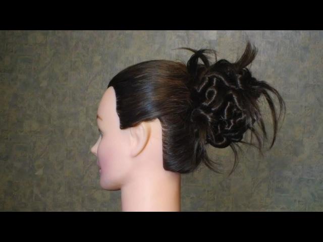 Прическа для прямых и длинных волос: Пучок из узелков