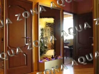 Водопад по зеркалу с подсветкой,нестандартное основание, квартира