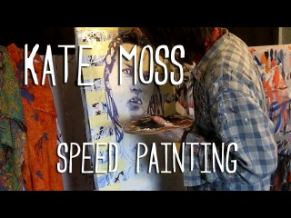 KATE MOSS (Nude on Stripes) - Speed Painting - Art By Stephen Quick