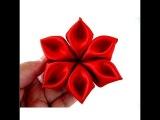 МК канзаши цветок.Flores pétalos diamantes en cintas para el cabello paso a paso