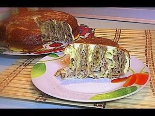 Яичный Пирог с Мясом «Улитка» кулинарный видео рецепт