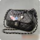 Женская черная сумка клатч chanel 2.55 с подвесками. ch0478