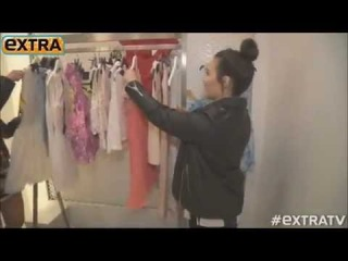 Demi Lovato and Fifth Harmony getting ready for TopShop's Gran Opening
