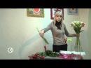 Букет из красных тюльпанов и белых лилий