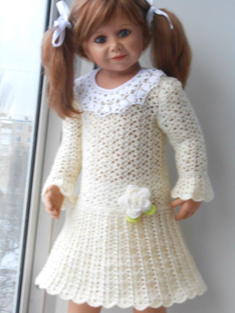 Вязать детское платье с рукавом