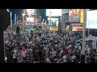 Истинная атмосфера Тайм Сквер в Нью-Йорке