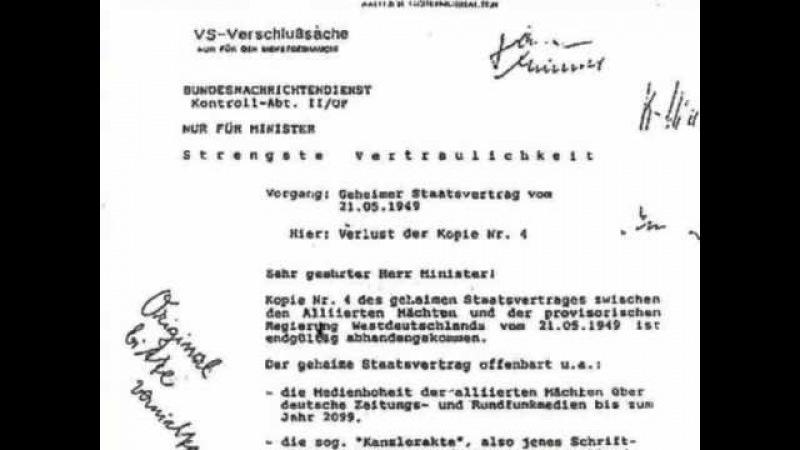 Geheimer Staatsvertrag - BND Dokument (Streng Vertraulich) BRD GmbH