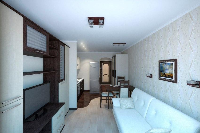 Проект прямоугольной квартиры-студии 25 м с лоджией.