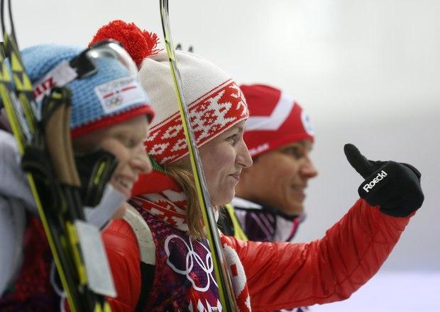 Д.Домрачева на Олимпийских играх в Сочи 2014.