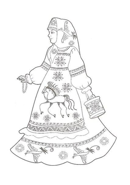 Раскраска девочка в русском сарафане - 9