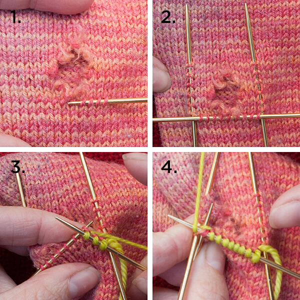 Как сделать дырку в вязке