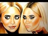 Цветной портрет Эшли и Мери-Кейт Олсен Annet_Portret  Абакан Карандашами Рисунок арт картина живопись искусство красивый портрет