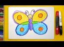 Как нарисовать Бабочку, Урок рисования для детей от 3 лет