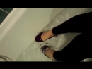 Rosie took a fully clothed bath with purple flats - 2