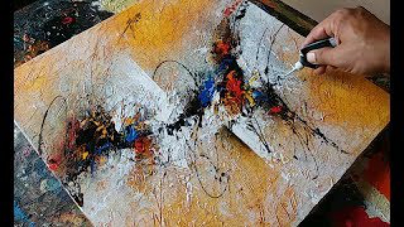 Abstract painting / textured with gesso / Acrylic abstract painting demonstration