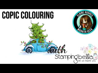 Copic Colouring Stamping Bella Christmas Bug stamp