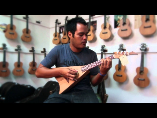 E.L. Woodworks Hawaiian Tenor V Shape Ukulele -Corey F demos