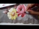 Pintura em Tecido. Aprenda Pintar Rosas, Margaridas, Folhas e Fundo