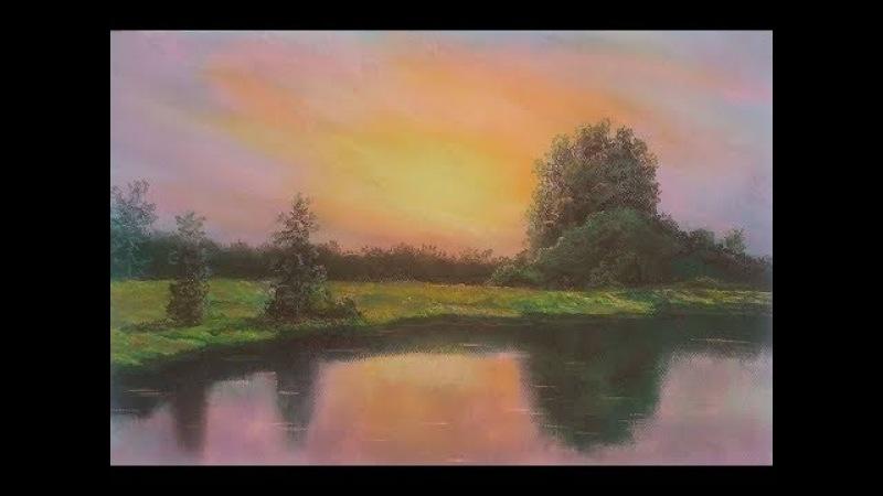 Закат. Рисую пастелью
