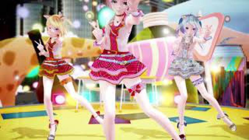 【MMD アイマリンプロジェクト】DEEP BLUE TOWNへおいでよ - Tda Idol Master Luka/Miku/Rin 1080P【Tda 巡音ルカ/初