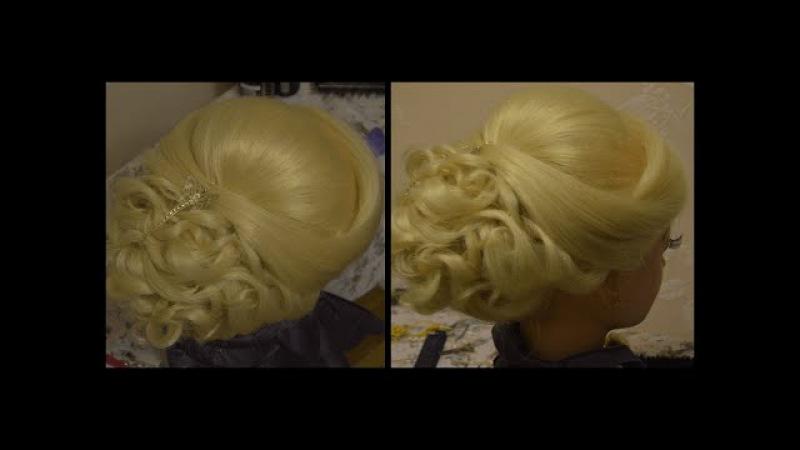 Свадебная прическа на длинные и средние волосы.