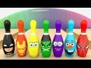 УЧИМ ЦВЕТА - Игра в Боулинг - Кегли Супергерои Мультфильм для детей Изучаем цвета по супергероям