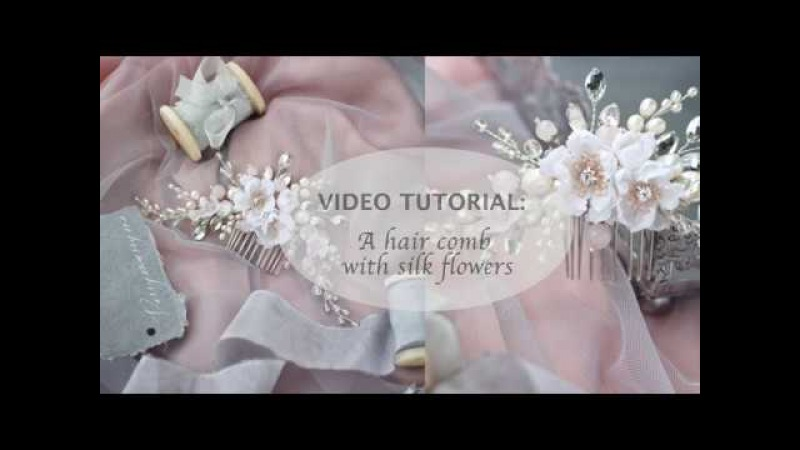 DIY Tutorial A hair comb with silk flowers handmade headpiece PROMO