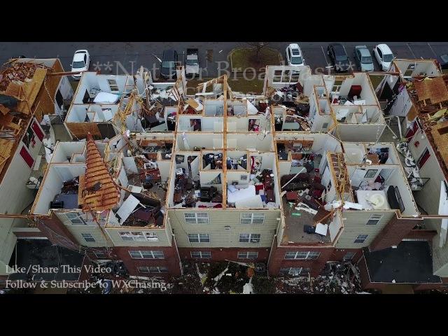 3-20-2018 Jacksonville, Al Drone video of extensive tornado damage buildings destroyed on campus