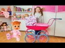 Little Girl Playing with Baby Doll and new carriage Are you sleeping brother John Song for Kids
