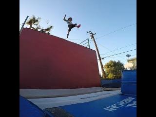 """Junktramp on Instagram: """"Flips by @garretmyers and @son.moku . . #trampoline #trampwall #junktramp #leap #bigjump #launch #flip #backflip #gainerfu..."""