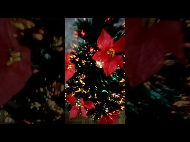 Ёлка искуственная (светящаяся)120см с цветами рождественника 1