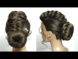 Updo Hairstyle For Long Hair Tutorial. Bun With Braid And Twist
