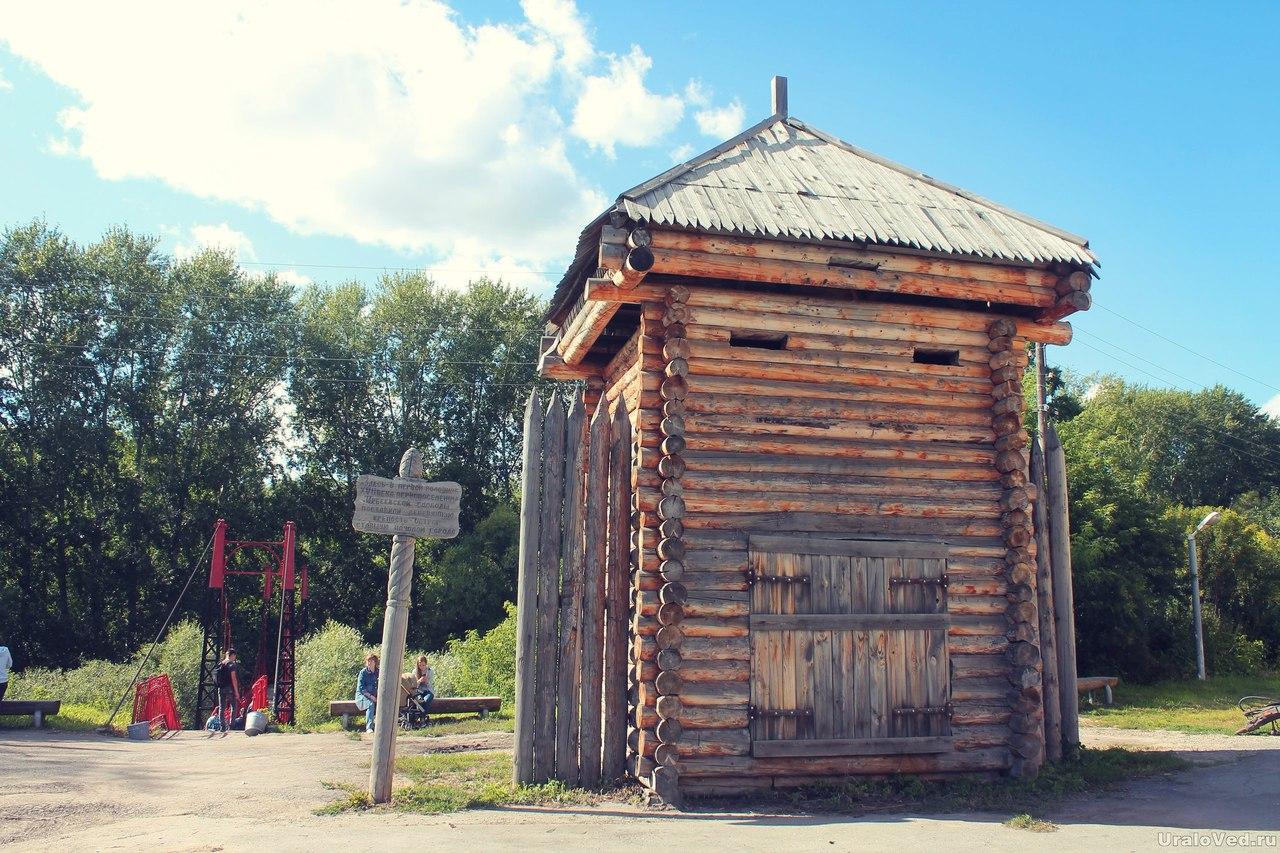 Воссозданная башня острога на месте Ирбеевской слободы