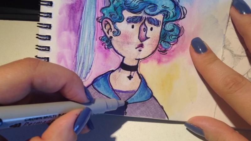 CatCore: bluehair girl speedpaint