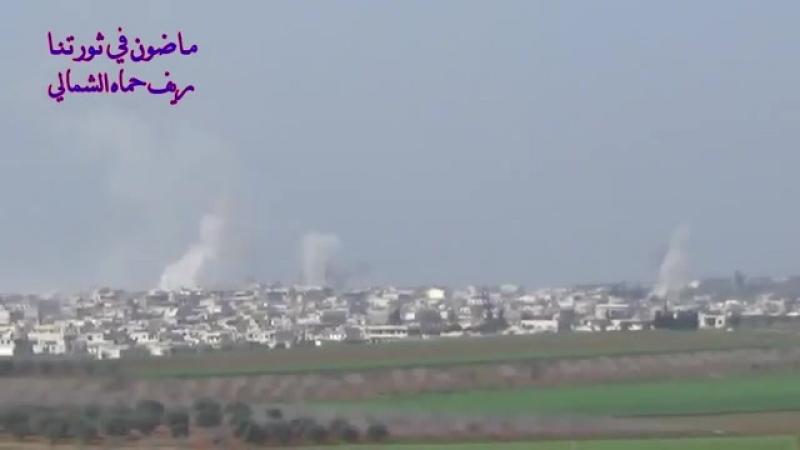 САА ведёт артобстрел н.п. Kafr_Zita Hama